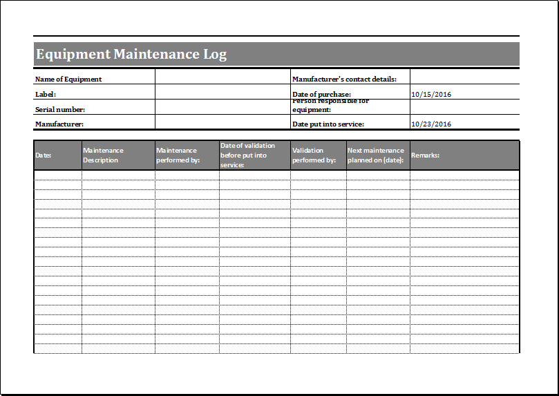 Attractive Equipment Maintenance Log Template For Word & Excel