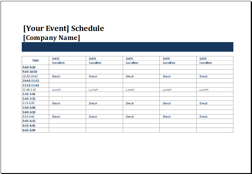 MS Excel Five Day Event Schedule Template