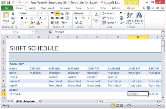 Weekly Employee Shift Schedule Excel Template Employee