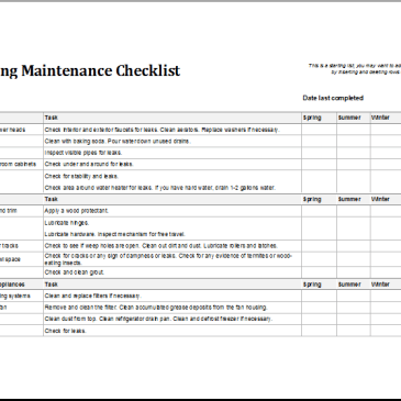 Facility Maintenance Schedule Template Archives Excel Templates