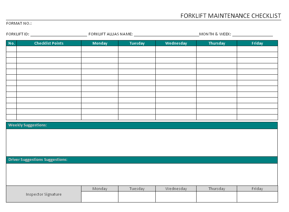 Forklift Maintenance Checklist format | Word | PDF | Report