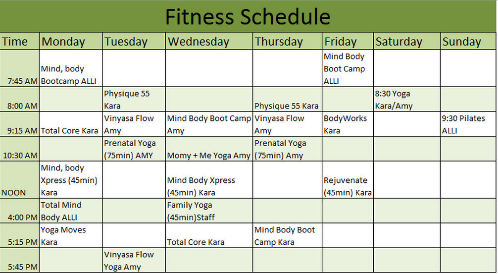 Fitness Schedule Template 7 Free Templates Schedule Templates