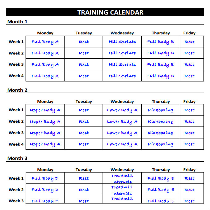 Fitness Schedule Template 12+ Free Excel, PDF Documents Download