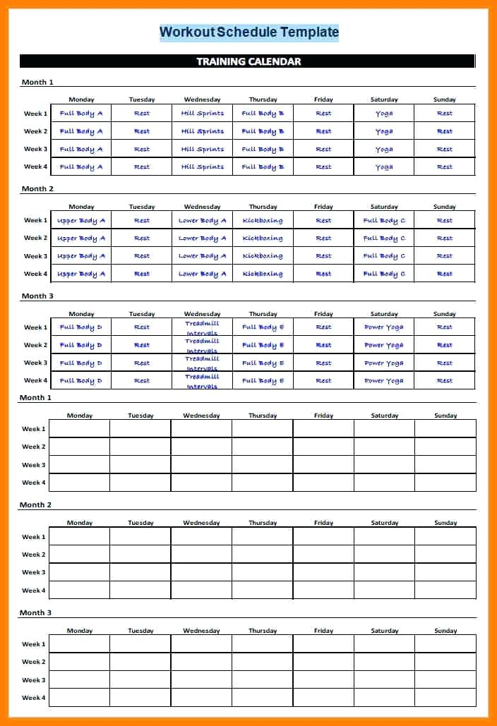 Workout Schedule Template Excel Workout Schedule Template Schedule