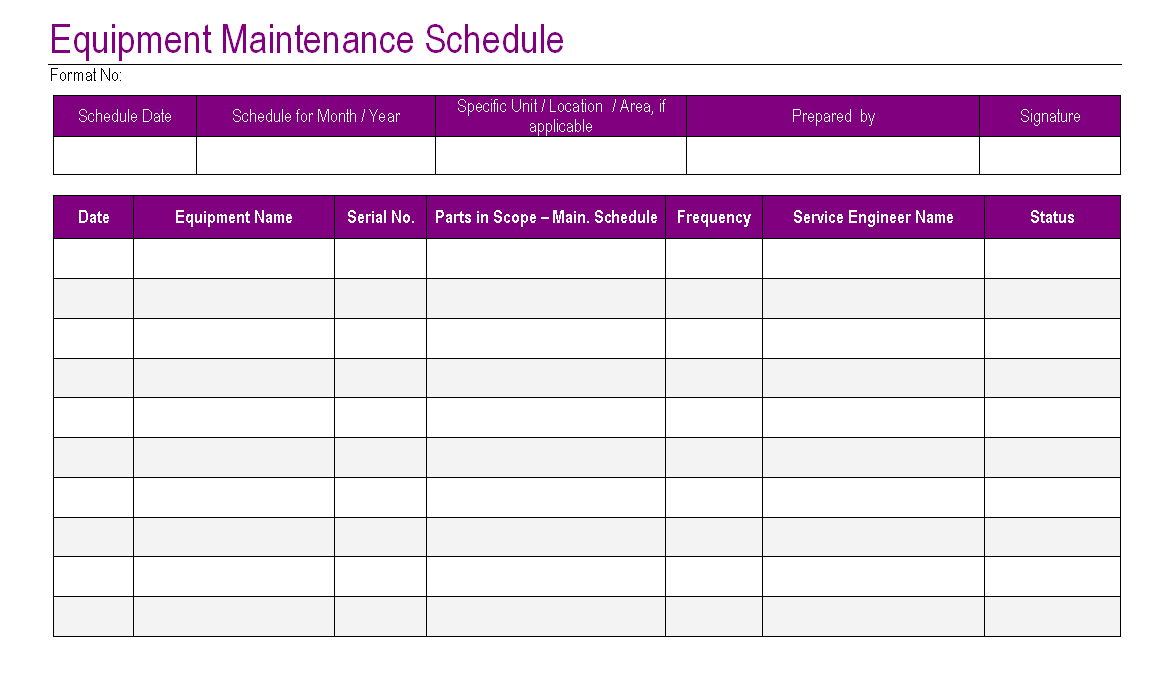 heavy equipment maintenance log