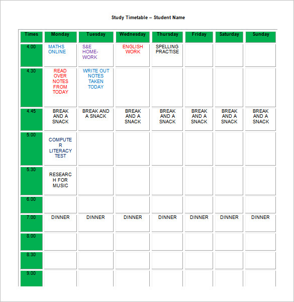 Homework Schedule Templates Excel