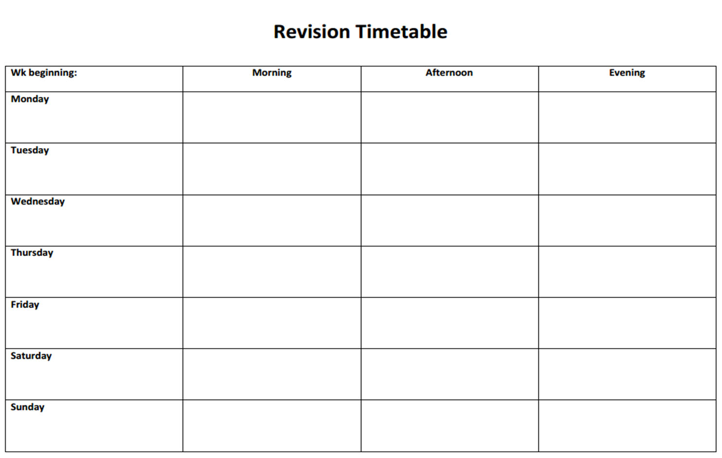 Homework Schedule Templates Free