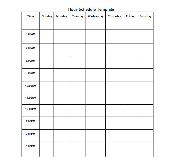 Hourly Chart Template Dtk Templates