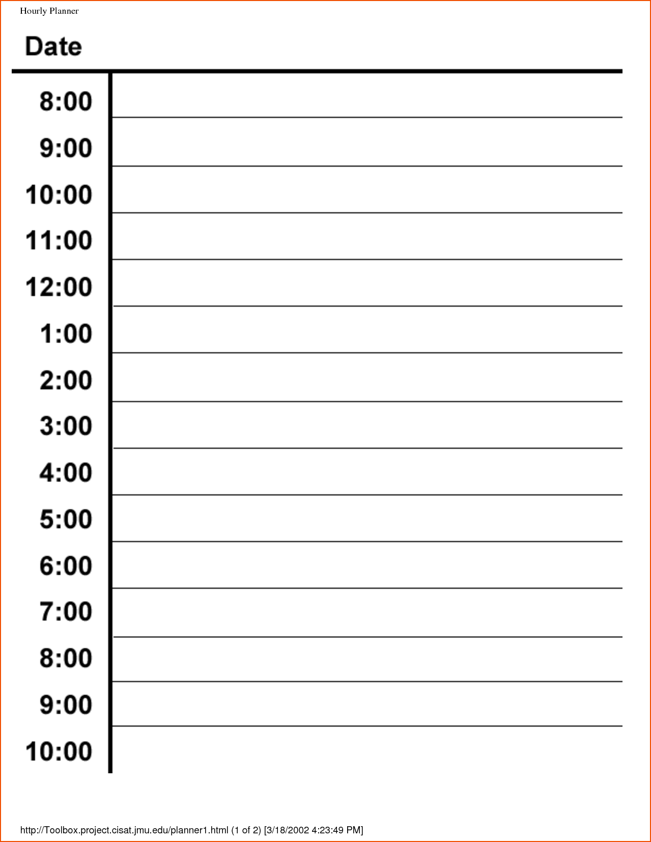 Hourly Calendar Template. Free Download Day Wise Hourly Schedule