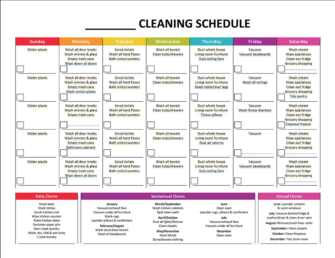 Cleaning Schedule Template Printable House Cleaning Checklist