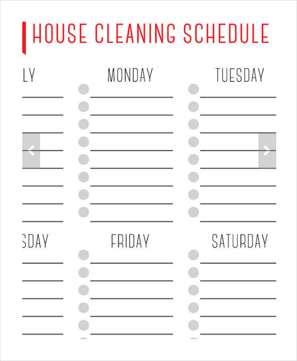 Weekly Cleaning Schedule Template Complete Housekeeping Printable
