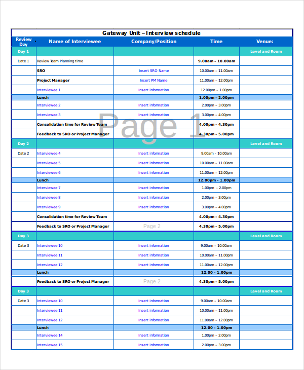 Interview Schedule Template Excel