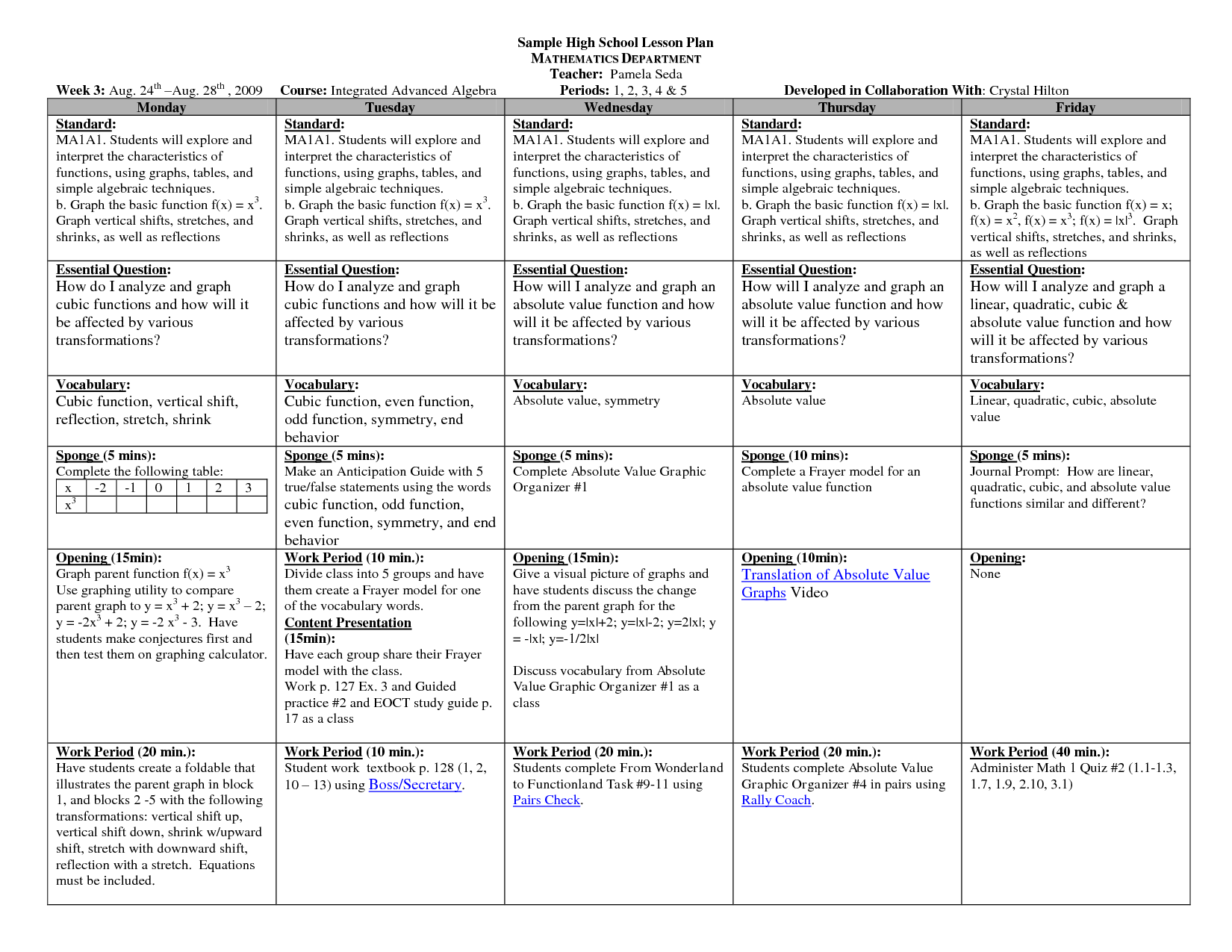 Lesson Plan Template For Middle School - printable