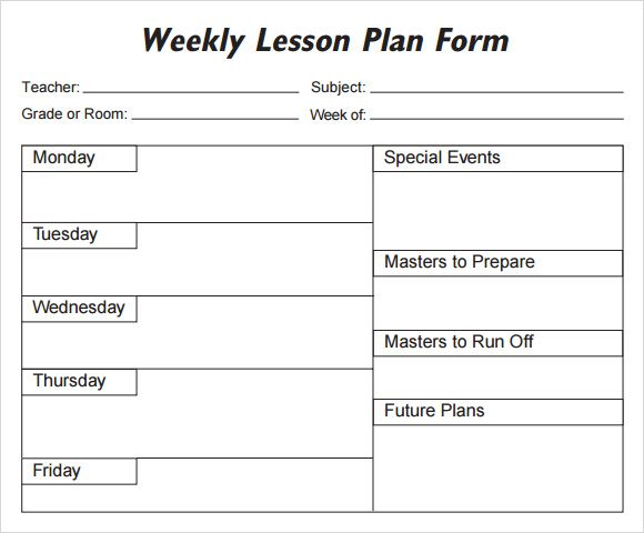 weekly lesson plan template weekly lesson plan template 8 free