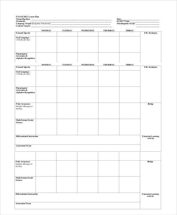 Printable Lesson Plan 7+ Free Word, PDF Documents Download
