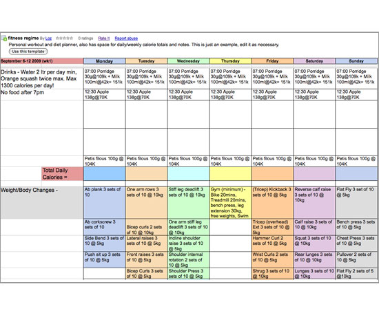 Meal Planner Template Google Docs