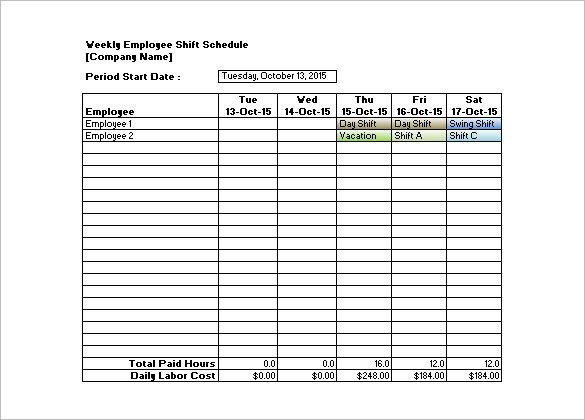 Shift Schedule Templates – 12+ Free Word, Excel, PDF Format