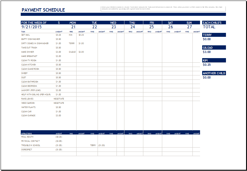 Chore Payment Schedule Template for MS Excel
