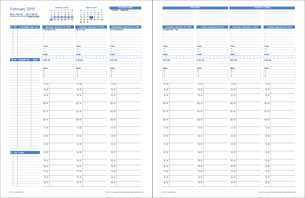 Monthly Meal Planner For Excel