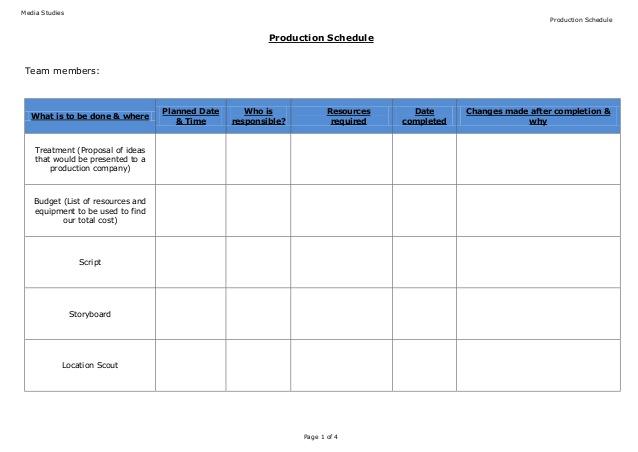 Film Shooting Schedule Template 11+ Free Word, Excel, PDF Format