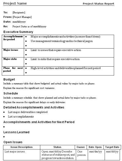 Lessons Learned Template. The Project Communication Plan