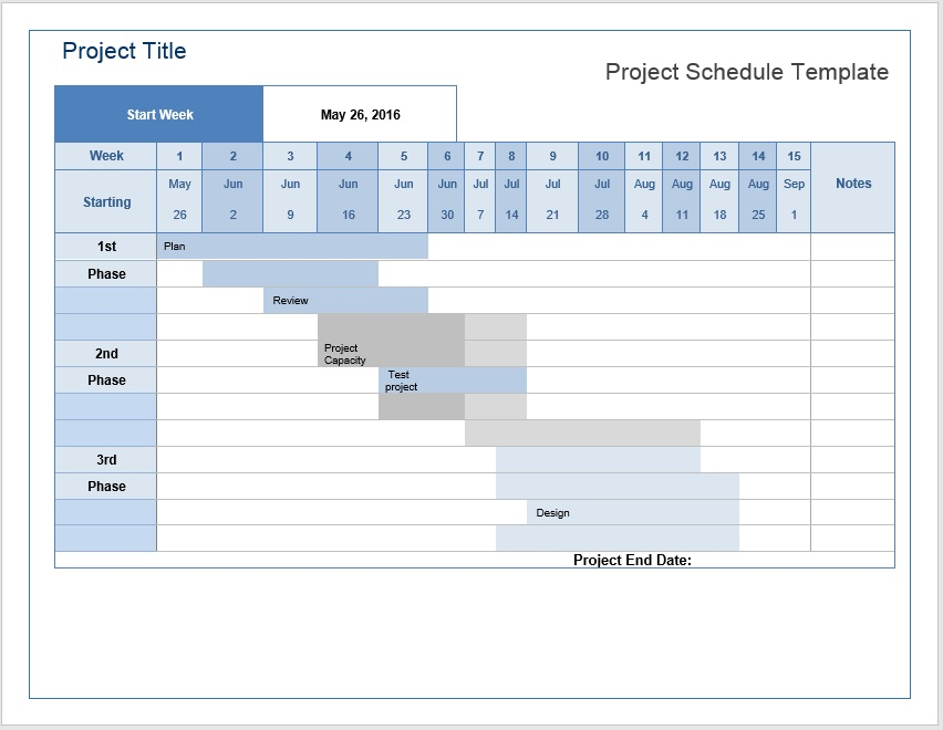 Project Schedule | Project Schedule Template