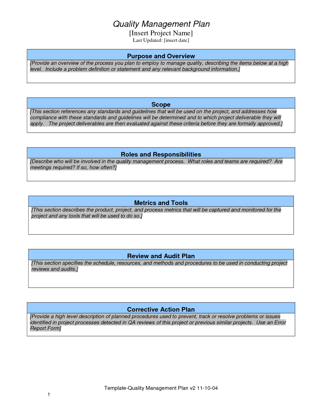 Quality Plan Template Project Management