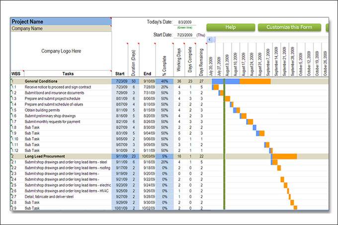 Construction Schedule Templates 20+ Free Word, Excel, PDF Format