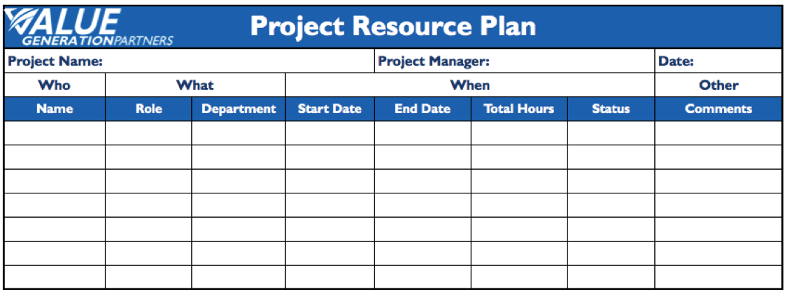 Generating Value by Creating a Project Resource Plan – Value