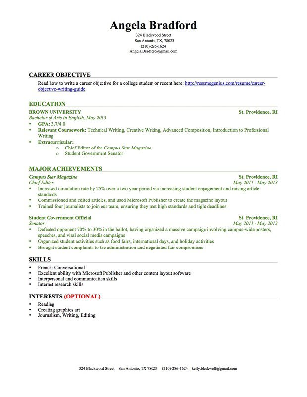 Sample Resume For College Students With No Experience | Free