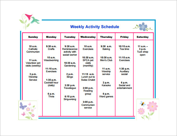 30 Activity Timetable Template, Activity Schedule Templates 12