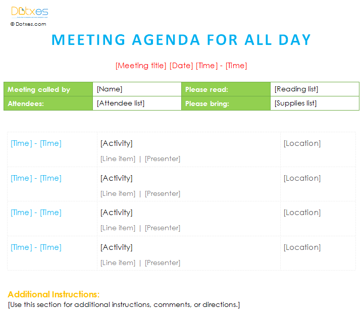 Meeting agenda template (All day) Dotxes