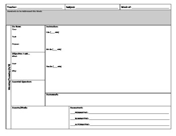 Block Schedule Lesson Plan Template by Julie W | TpT