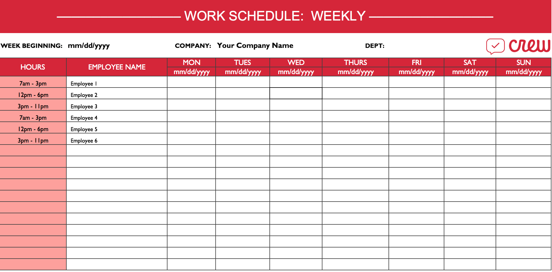 Schedule Making Template