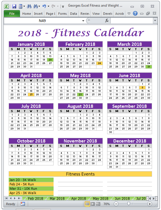 Excel Fitness Weight Loss Tracker Template for Year 2018