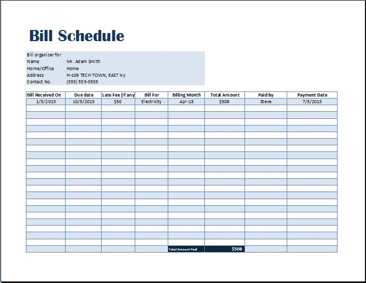 Bill Payment Schedule Template | Word & Excel Templates