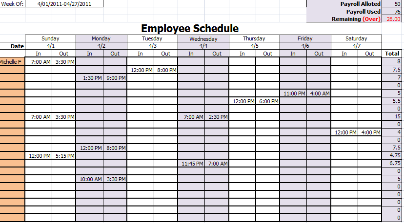 Staff Schedule Template – 8+ Free Word, Excel, PDF Format Download
