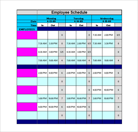 9+ staff schedule template