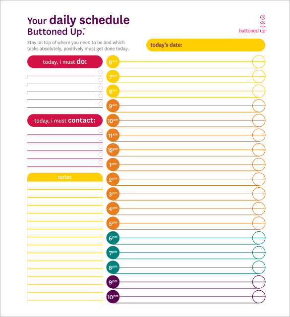 Daily Schedule Template 29 Free Word Excel Pdf Documents Daily