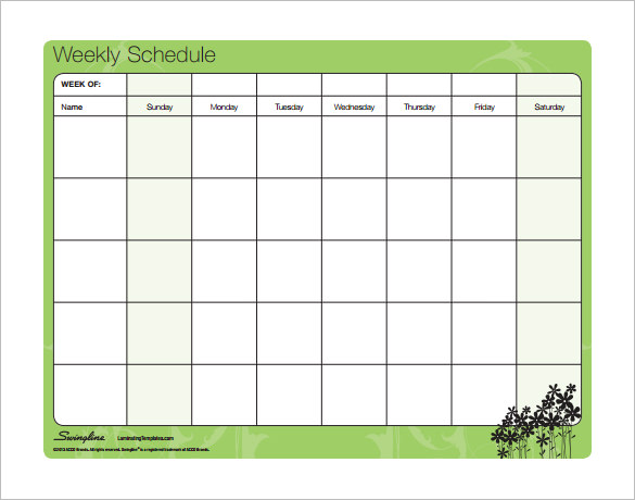 Weekly Work Schedule Template Free