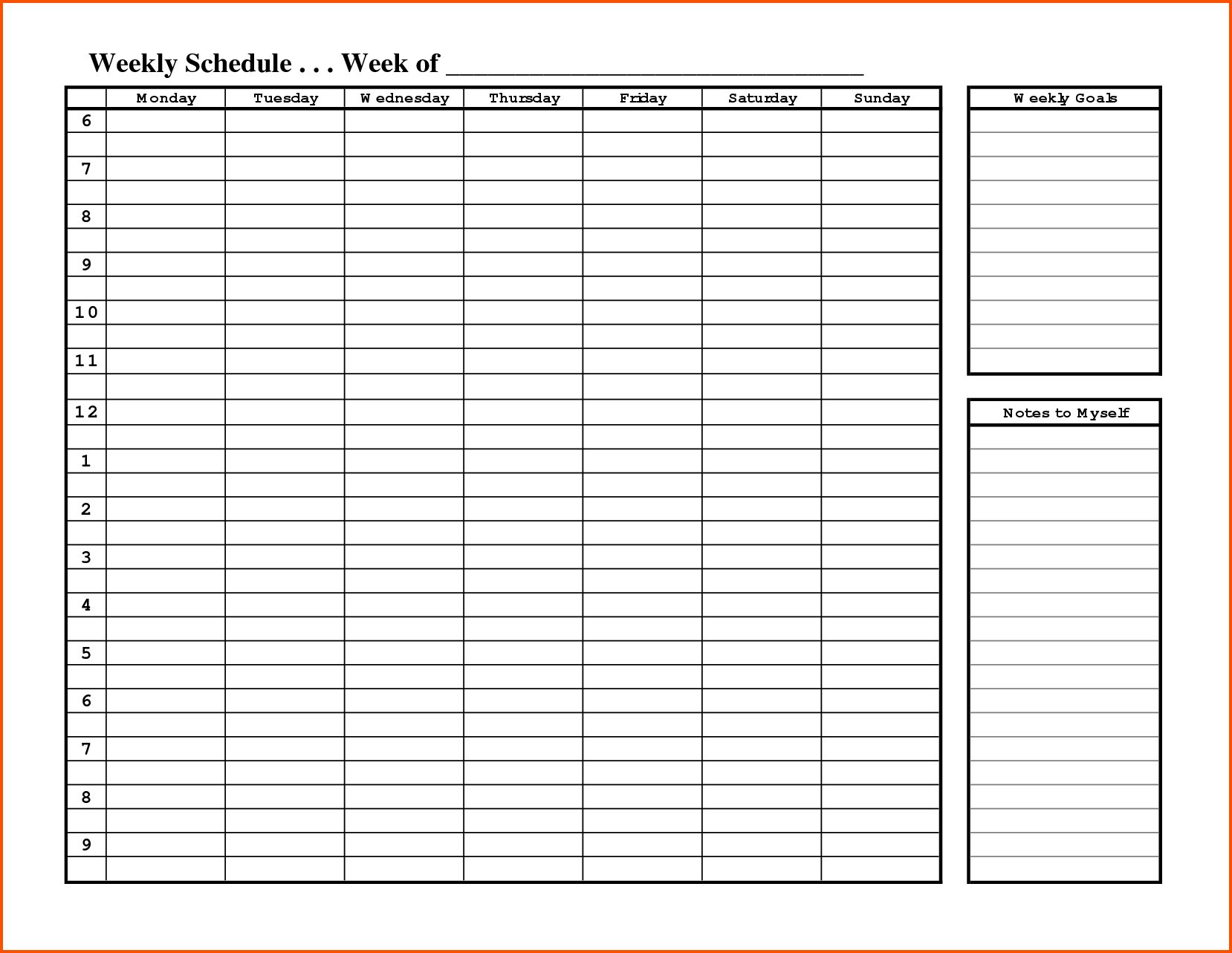 Free Printable Weekly Employee Schedule Template With Weekly Goals