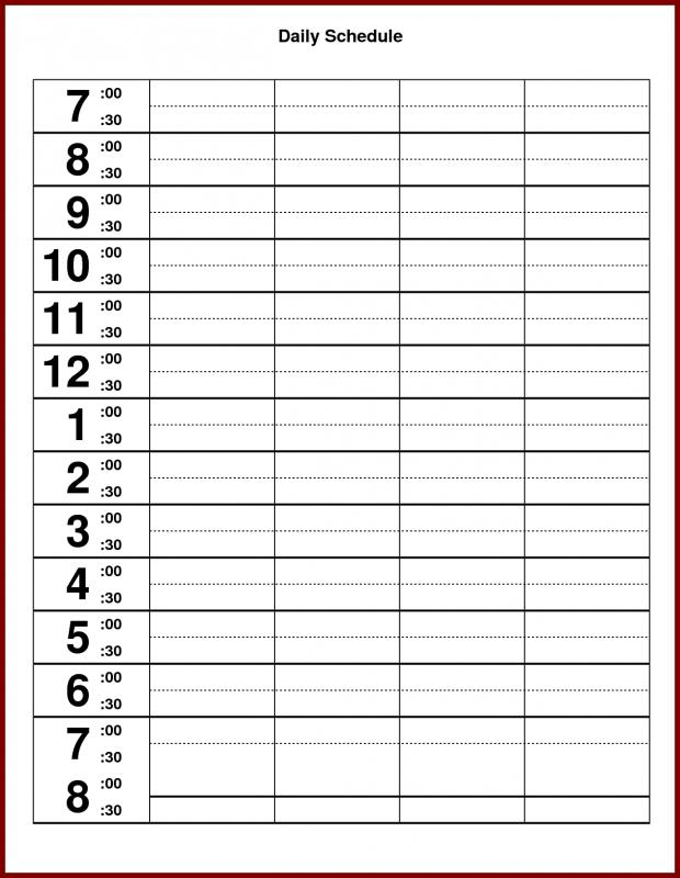 24 Hours Schedule Templates Free On Word, Excel and Pdf Format