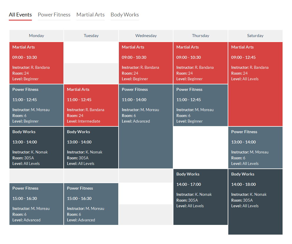 Schedule Template in CSS