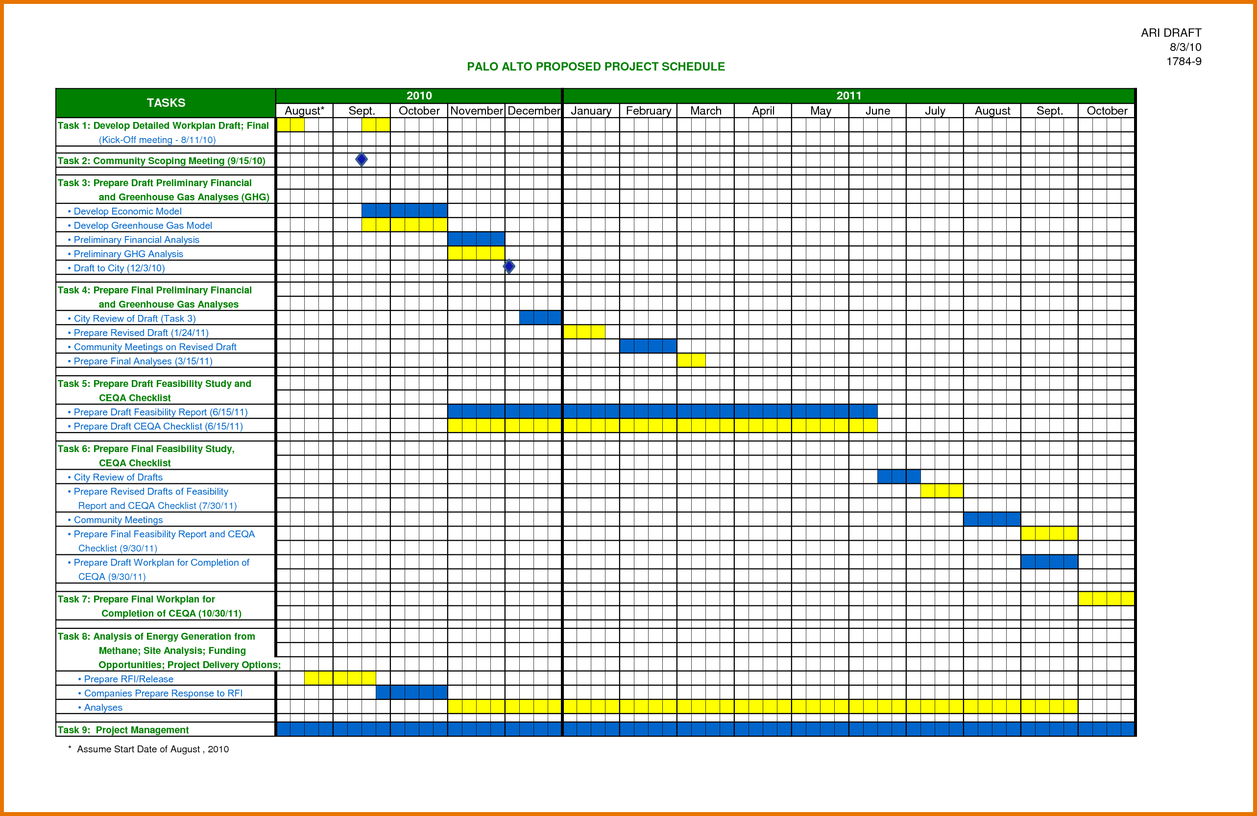 Construction Schedule Template Residential, Excel Workbook