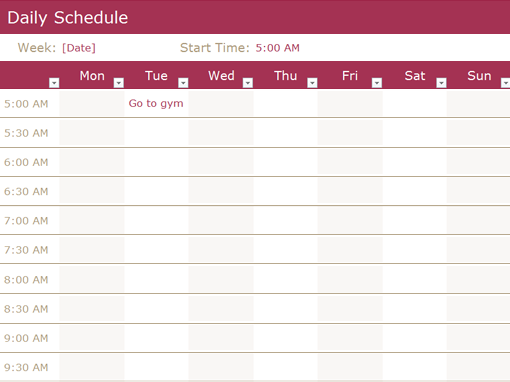 hour schedule template