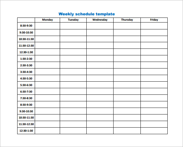 Weekly Work Schedule Template 14+ Free Word, Excel, PDF, Format