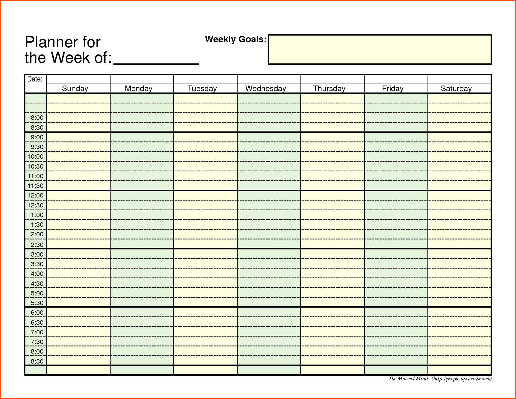 11+ weekly schedule template pdf