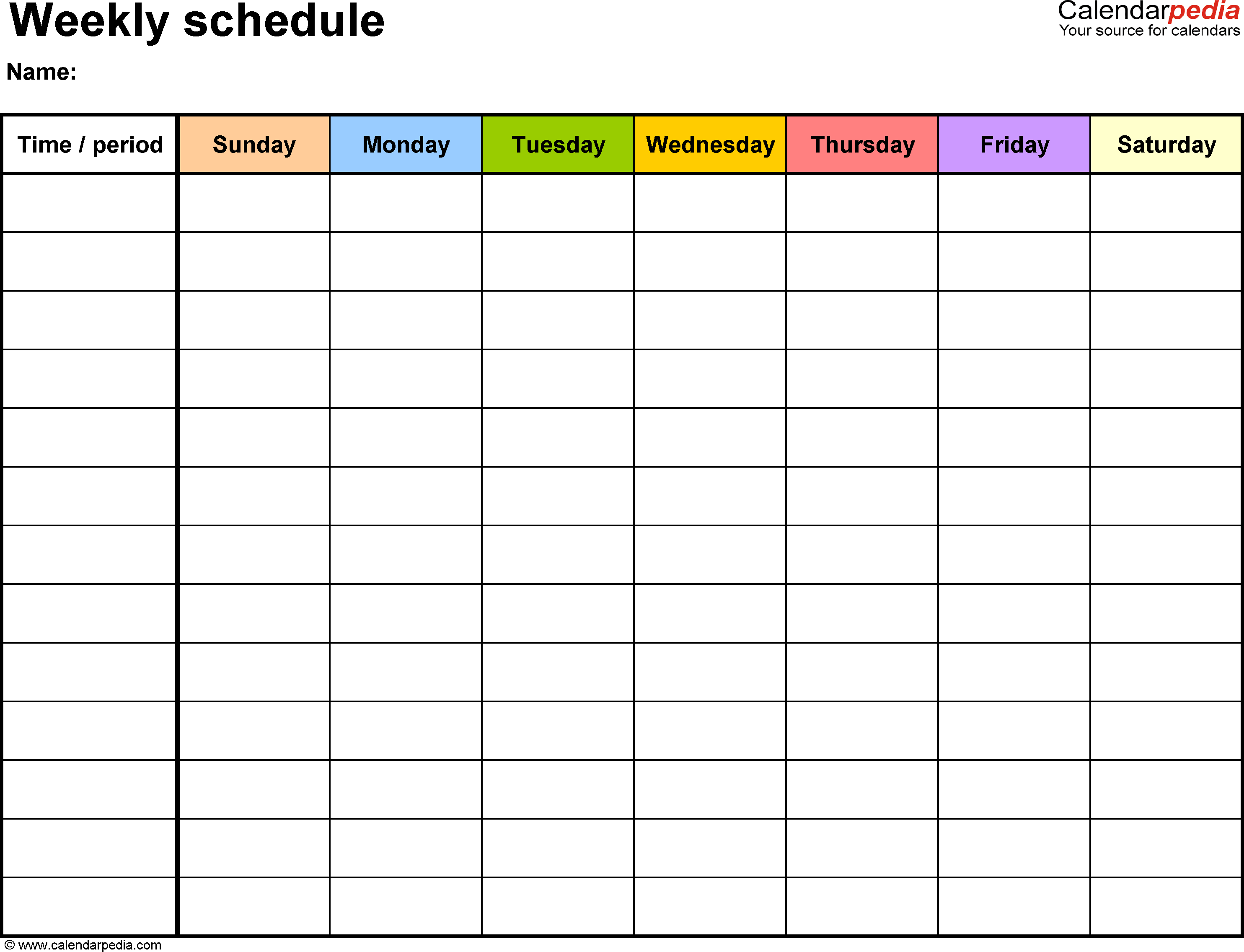 Schedule Template Printable