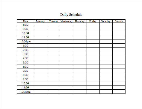 Timetable Templates – Free Word, PDF, Documents Download