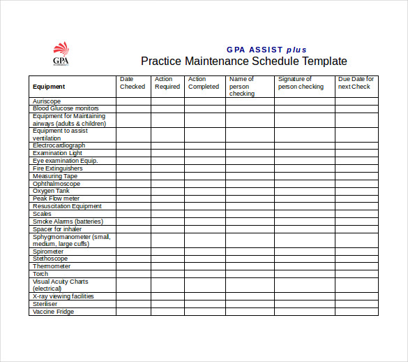Office Maintenance Schedule Template MS Excel
